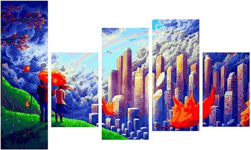 Модульное рисование по номерам Вид с холма на огромный город