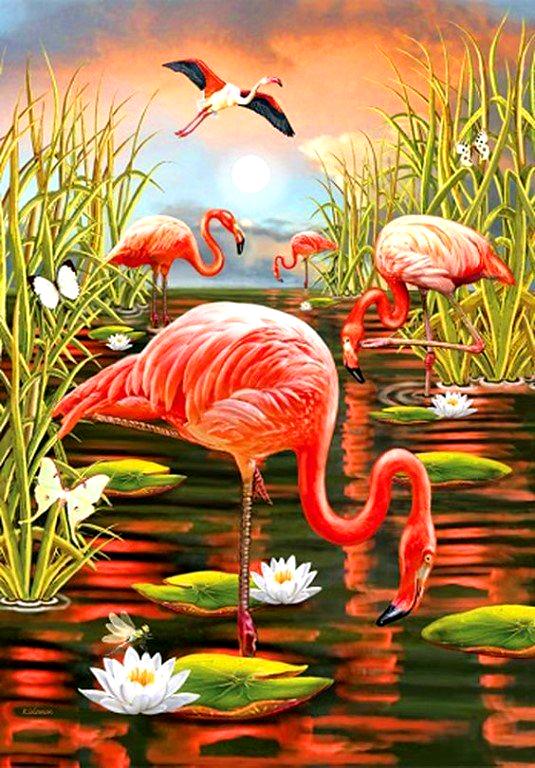 Картина по номерам 40x50 Розовые фламинго на болоте